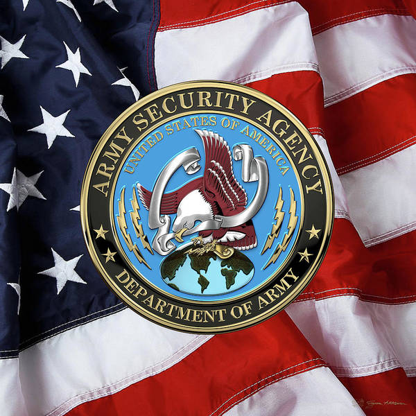 Digital Art - U. S. Army Security Agency - A S A Emblem Over American Flag by Serge Averbukh