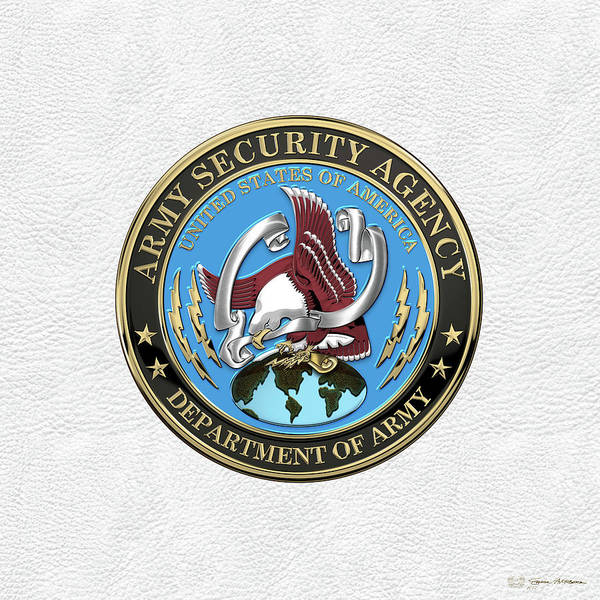 Digital Art - U. S. Army Security Agency - A S A Emblem Over White Leather by Serge Averbukh