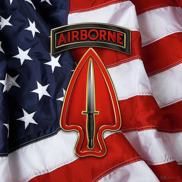 Digital Art - U. S.  Army Special Operations Command  -  U S A S O C   C S I B Over American Flag by Serge Averbukh