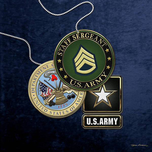 Digital Art - U. S. Army Staff Sergeant   -  S S G  Rank Insignia With Army Seal And Logo Over Blue Velvet by Serge Averbukh