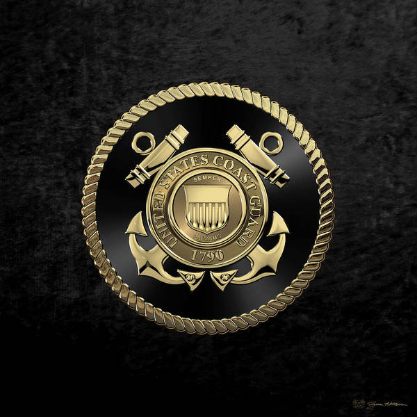 Digital Art - U. S.  Coast Guard  -  U S C G Emblem Black Edition Over Black Velvet by Serge Averbukh