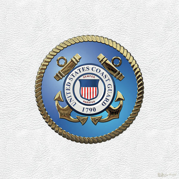 Digital Art - U. S.  Coast Guard  -  U S C G Emblem Over White Leather by Serge Averbukh