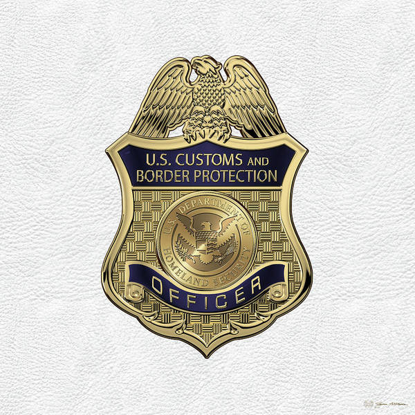 Digital Art - U. S.  Customs And Border Protection -  C B P  Officer Badge Over White Leather by Serge Averbukh