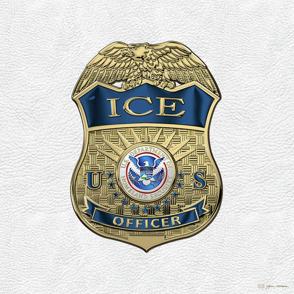 Digital Art - U. S. Immigration And Customs Enforcement  -  I C E  Officer Badge Over White Leather by Serge Averbukh