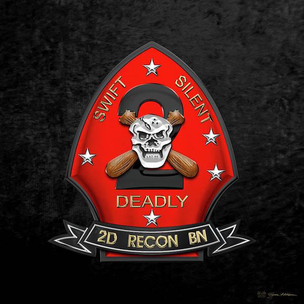 Wall Art - Digital Art - U S M C  2nd Reconnaissance Battalion -  2nd Recon Bn Insignia Over Black Velvet by Serge Averbukh