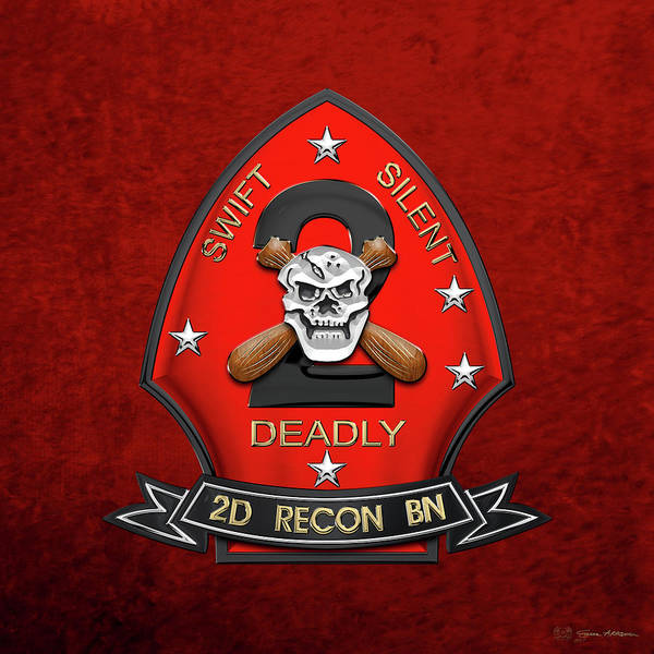 Wall Art - Digital Art - U S M C  2nd Reconnaissance Battalion -  2nd Recon Bn Insignia Over Red Velvet by Serge Averbukh