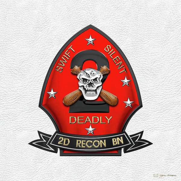 Wall Art - Digital Art - U S M C  2nd Reconnaissance Battalion -  2nd Recon Bn Insignia Over White Leather by Serge Averbukh