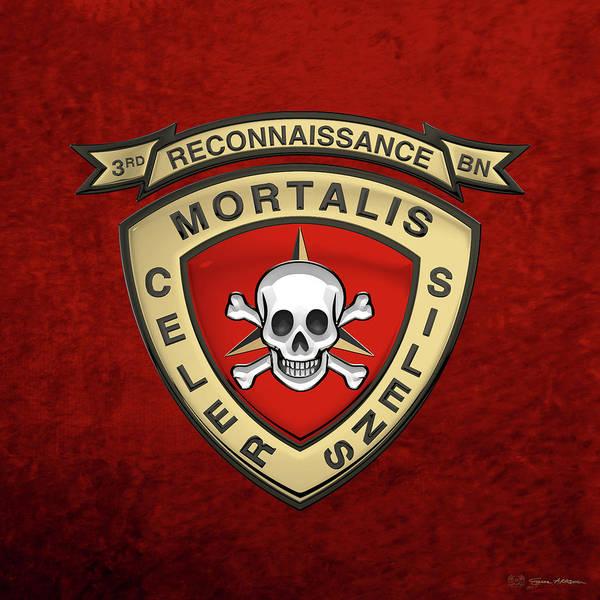 U S M C  3rd Reconnaissance Battalion -  3rd Recon Bn Insignia Over Red Velvet Art Print