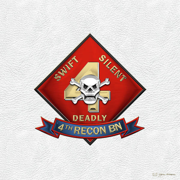 Wall Art - Digital Art - U S M C  4th Reconnaissance Battalion -  4th Recon Bn Insignia Over White Leather by Serge Averbukh