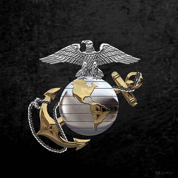 Digital Art - U S M C Eagle Globe And Anchor - C O And Warrant Officer E G A Over Black Velvet by Serge Averbukh