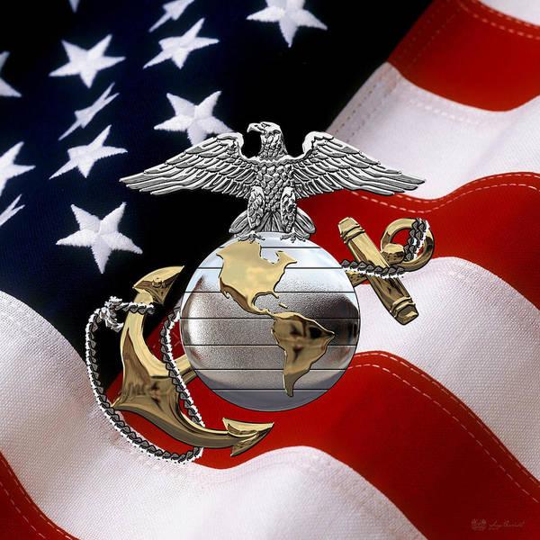 Digital Art - U S M C Eagle Globe And Anchor - C O And Warrant Officer E G A Over U. S. Flag by Serge Averbukh