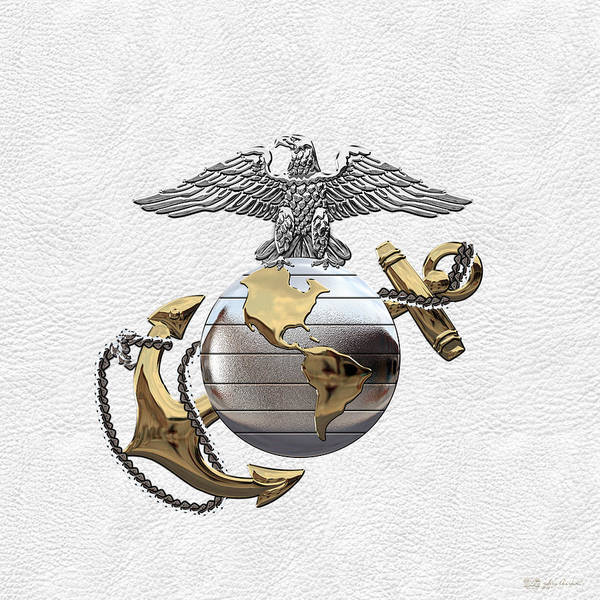 Digital Art - U S M C Eagle Globe And Anchor - C O And Warrant Officer E G A Over White Leather by Serge Averbukh