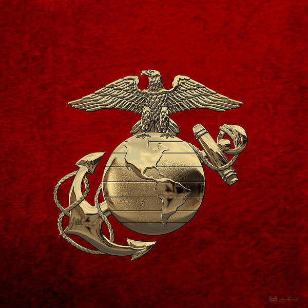 Digital Art - U S M C Eagle Globe And Anchor - N C O And Enlisted E G A Over Red Velvet by Serge Averbukh