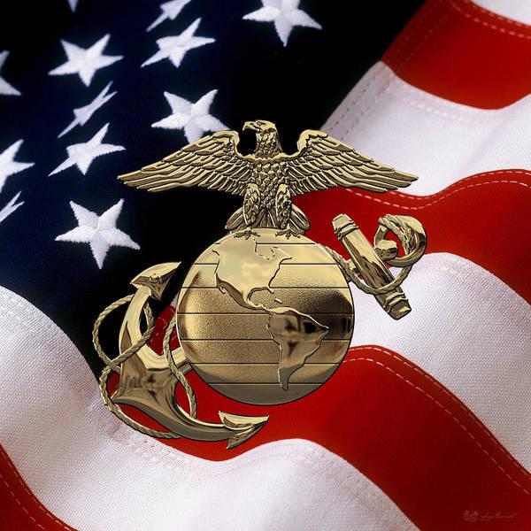 Digital Art - U S M C Eagle Globe And Anchor - N C O And Enlisted E G A Over U. S. Flag by Serge Averbukh