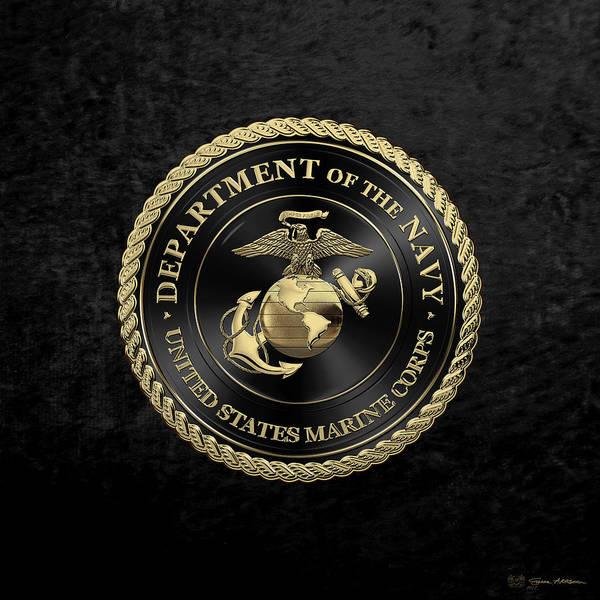 Digital Art - U S M C Emblem Black Edition Over Black Velvet by Serge Averbukh