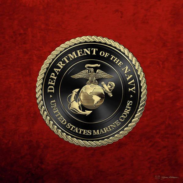 Digital Art - U S M C Emblem Black Edition Over Red Velvet by Serge Averbukh
