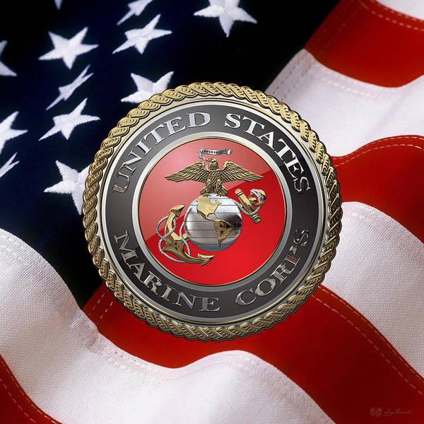 Digital Art - U S M C Emblem Over American Flag by Serge Averbukh