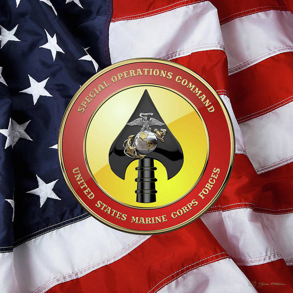 Digital Art - U S M C  Forces Special Operations Command -  M A R S O C        Seal Over American Flag by Serge Averbukh