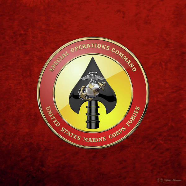 Digital Art - U S M C  Forces Special Operations Command -  M A R S O C  Seal Over Red Velvet by Serge Averbukh