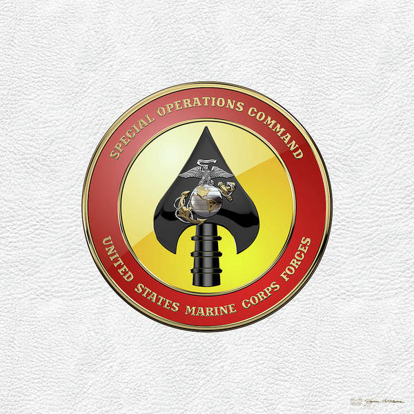 Digital Art - U S M C  Forces Special Operations Command -  M A R S O C  Seal Over White Leather by Serge Averbukh