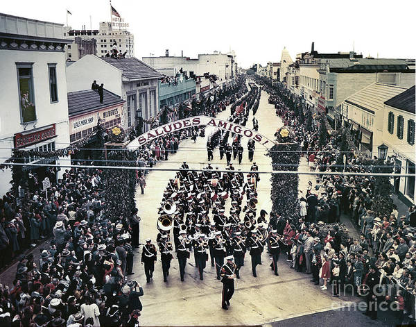 Photograph - U. S. Marine Corps Marching Band  Up Alvarado Street 1949 by California Views Archives Mr Pat Hathaway Archives