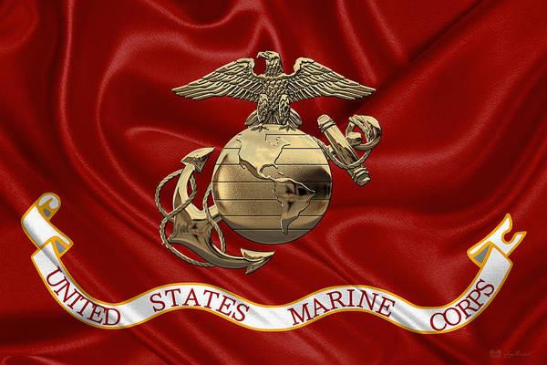 Digital Art - U. S.  Marine Corps - N C O Eagle Globe And Anchor Over Corps Flag by Serge Averbukh