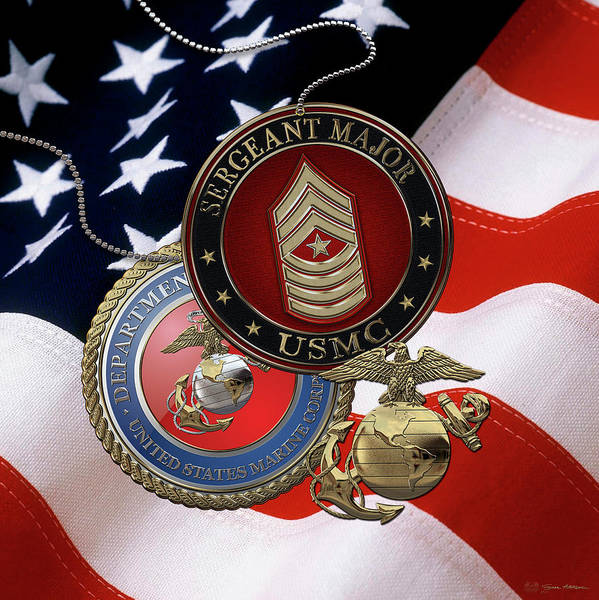 Digital Art - U. S. Marines Sergeant Major -  U S M C  Sgt Maj Rank Insignia Over American Flag by Serge Averbukh