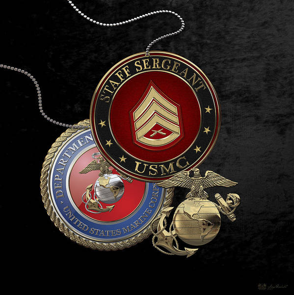 Digital Art - U. S. Marines Staff Sergeant Rank Insignia Over Black Velvet by Serge Averbukh