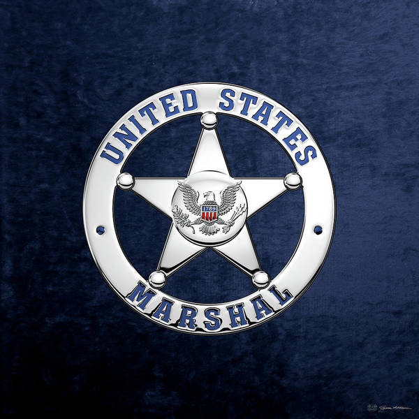 Digital Art - U. S. Marshals Service  -  U S M S  Badge Over Blue Velvet by Serge Averbukh