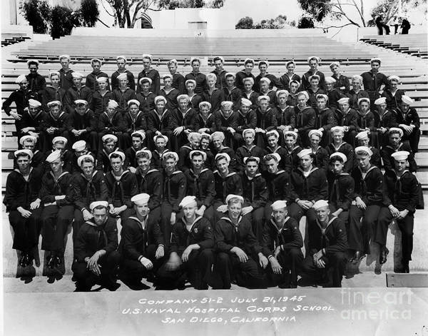 Photograph - U. S. Naval Hospital Corps School San Diego California July 21 1945 by California Views Archives Mr Pat Hathaway Archives