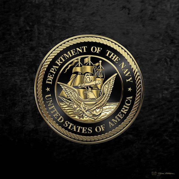 Digital Art - U. S.  Navy  -  U S N  Emblem Black Edition Over Black Velvet by Serge Averbukh