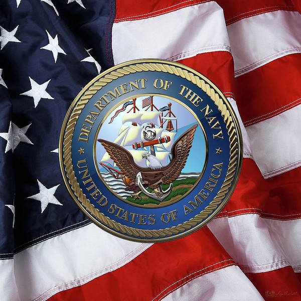 Digital Art - U. S.  Navy  -  U S N Emblem Over American Flag by Serge Averbukh