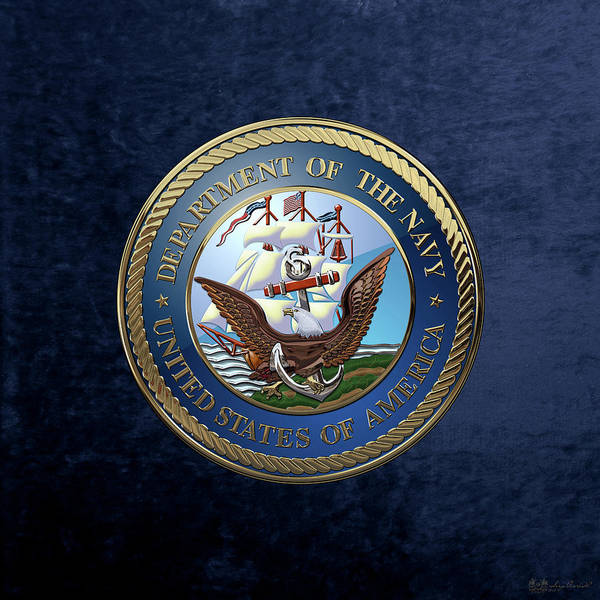 Digital Art - U. S.  Navy  -  U S N Emblem Over Blue Velvet by Serge Averbukh