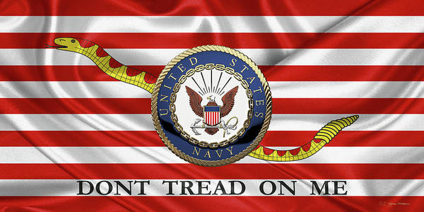 Wall Art - Digital Art - U. S.  Navy  -  U S N Emblem Over Naval Jack by Serge Averbukh