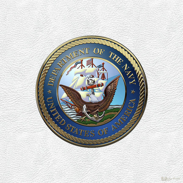 Digital Art - U. S.  Navy  -  U S N Emblem Over White Leather by Serge Averbukh
