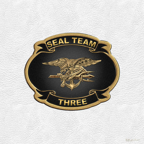 Digital Art - U. S. Navy S E A Ls - S E A L Team 3  -  S T 3  Patch Over White Leather by Serge Averbukh