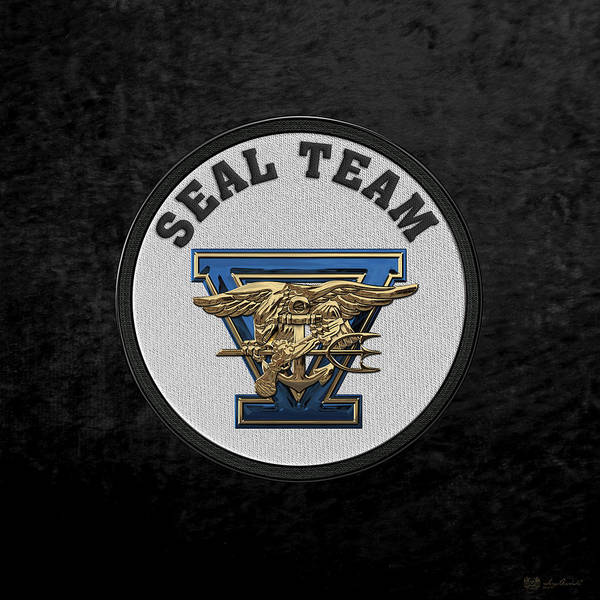 Digital Art - U. S. Navy S E A Ls - S E A L Team Five  -  S T 5  Patch Over Black Velvet by Serge Averbukh