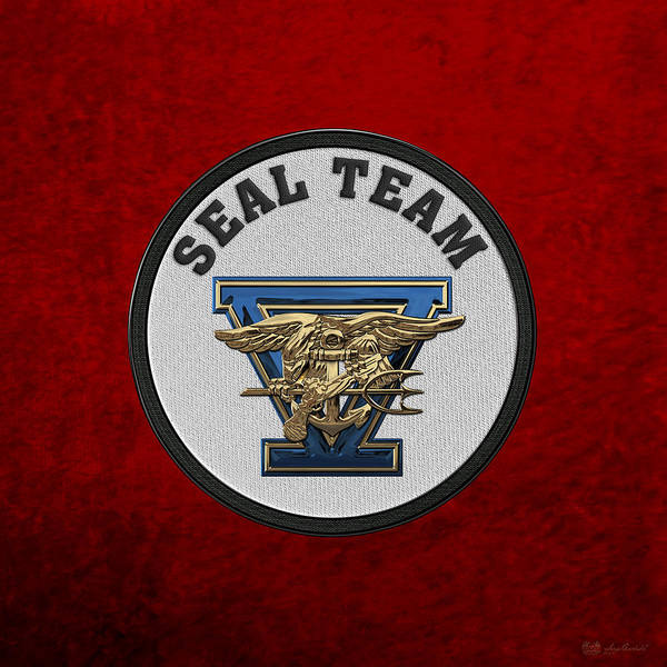 Digital Art - U. S. Navy S E A Ls - S E A L Team Five  -  S T 5  Patch Over Red Velvet by Serge Averbukh