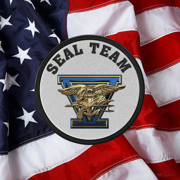 Digital Art - U. S. Navy S E A Ls - S E A L Team Five  -  S T 5  Patch Over U. S. Flag by Serge Averbukh
