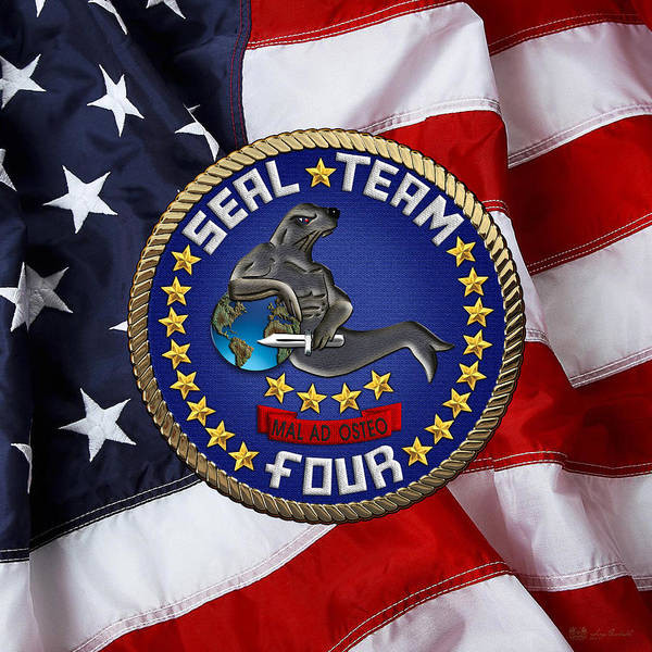 Digital Art - U. S. Navy S E A Ls - S E A L Team Four  -  S T 4  Patch Over U. S. Flag by Serge Averbukh