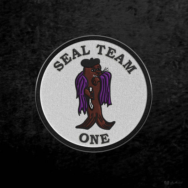 Digital Art - U. S. Navy S E A Ls - S E A L Team One -  S T 1 Patch Over Black Velvet by Serge Averbukh