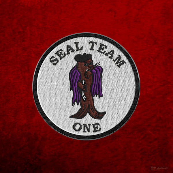 Digital Art - U. S. Navy S E A Ls - S E A L Team One -  S T 1 Patch Over Red Velvet by Serge Averbukh