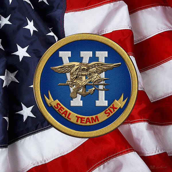 Digital Art - U. S. Navy S E A Ls - S E A L Team Six  -  S T 6  Patch Over U. S. Flag by Serge Averbukh
