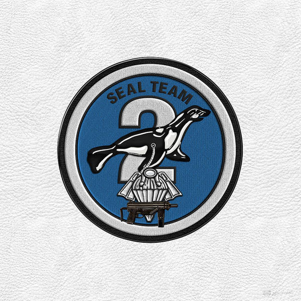 Digital Art - U. S. Navy S E A Ls - S E A L Team Two -  S T 2  Patch Over White Leather by Serge Averbukh
