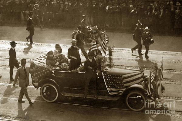 Photograph - U. S. President President Woodrow Wilson Standing In A Car 1915  by California Views Archives Mr Pat Hathaway Archives