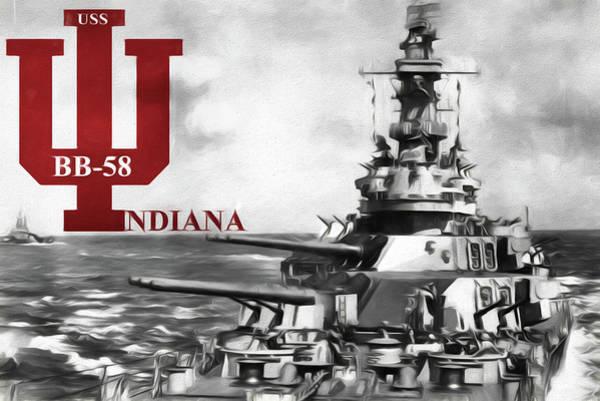Digital Art - U S S Indiana  by JC Findley
