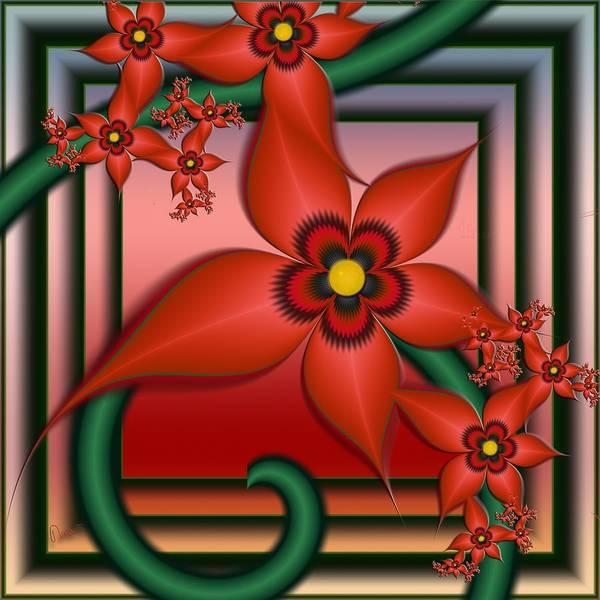 Self Similarity Digital Art - u025-1 Flowers For Maurits by Drasko Regul