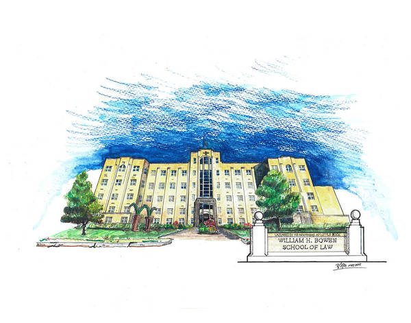 Law School Wall Art - Drawing - Ualr William H. Bowen School Of Law by Yang Luo-Branch