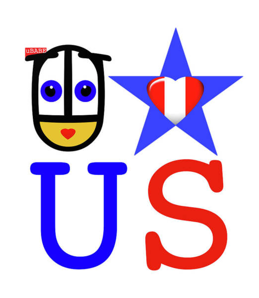 Digital Art - uBABE Loves USA by Charles Stuart