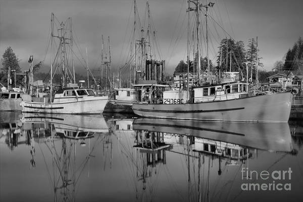 Port Of Vancouver Wall Art - Photograph - Ucluelet  Harbor Black And White by Adam Jewell